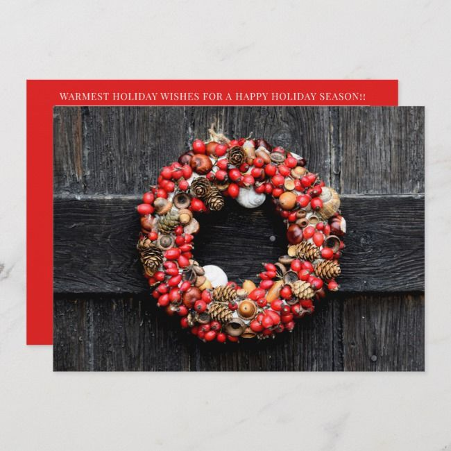 Photo of HOLIDAY PHOTO CARD | Country Christmas Wreath | Zazzle.com