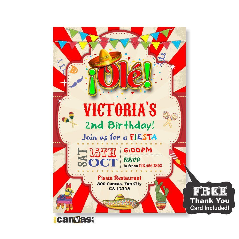 Mexican Fiesta Birthday invitation, Fiesta Birthday Invites ...