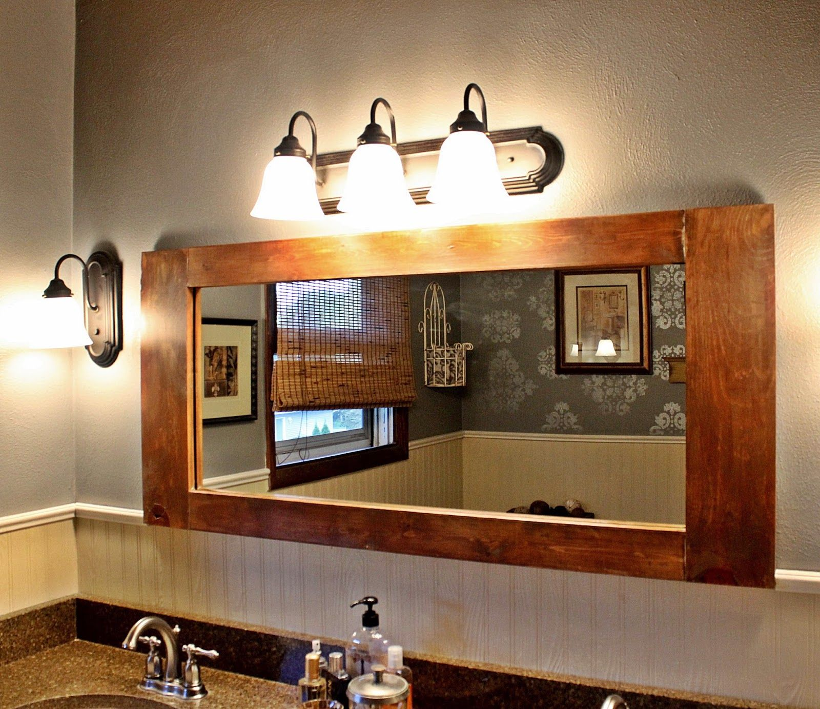 Bathroom Mirrors Under $50 large diy bathroom vanity mirror for under $50 - the decorating