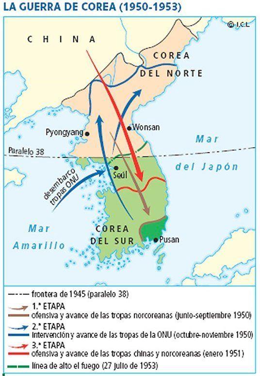 Mapa Guerra De Corea.Pin En Historia Contemporanea