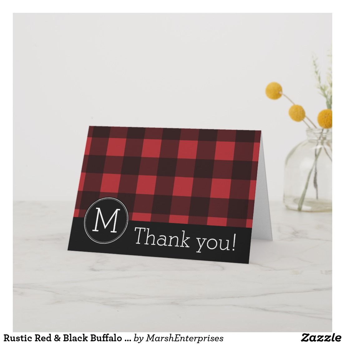Rustic Red & Black Buffalo Plaid Pattern Monogram Thank You Card