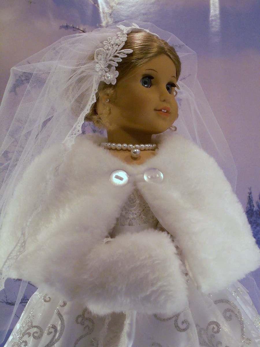 Winter bride gown cape muff fits american girl dolls elizabeth