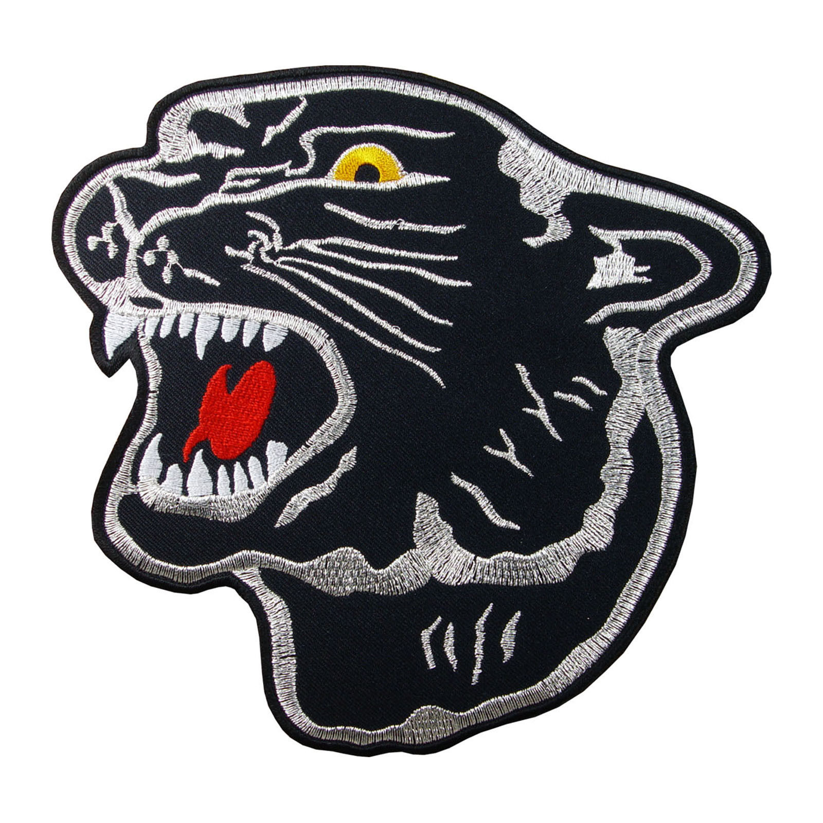 Embroidered Jaguar Black Panther Head Sew or Iron on Patch Biker Patch