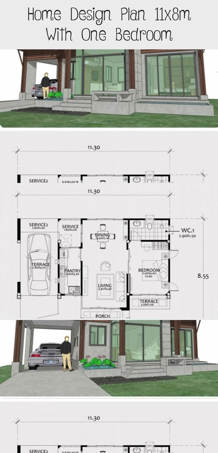Home Design Plan 11x8m With One Bedroom Home Design With Plansearch Smallhouseplansnewzealand Smallhousepla In 2020 Home Design Plan Small House Plans House Design