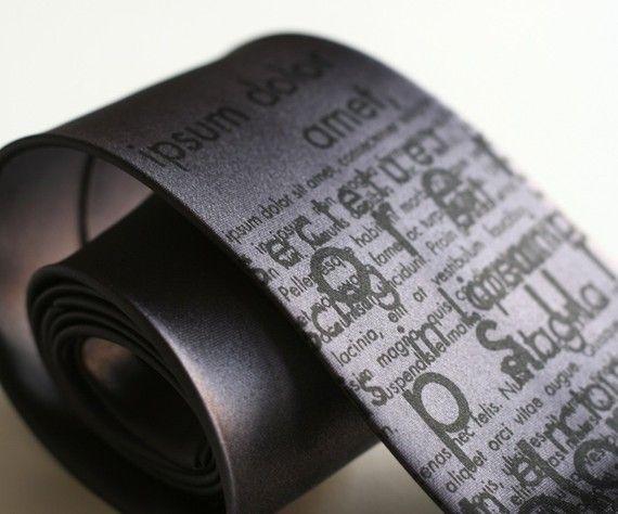 Lorem Ipsum Dolor Necktie. Cicero Latin Text Tie, Placeholder Dummy Text graphic designer gift, graphic artist gift, mockup text, typography