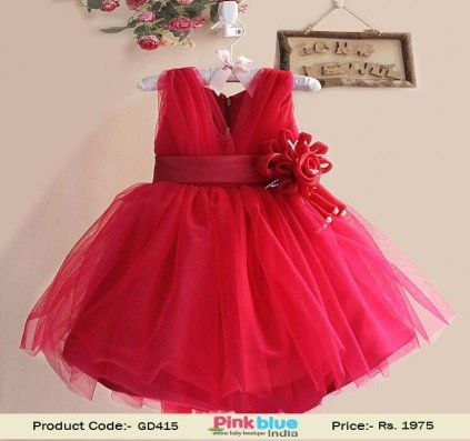 Red Designer Birthday Party Dress for Girls with Flower