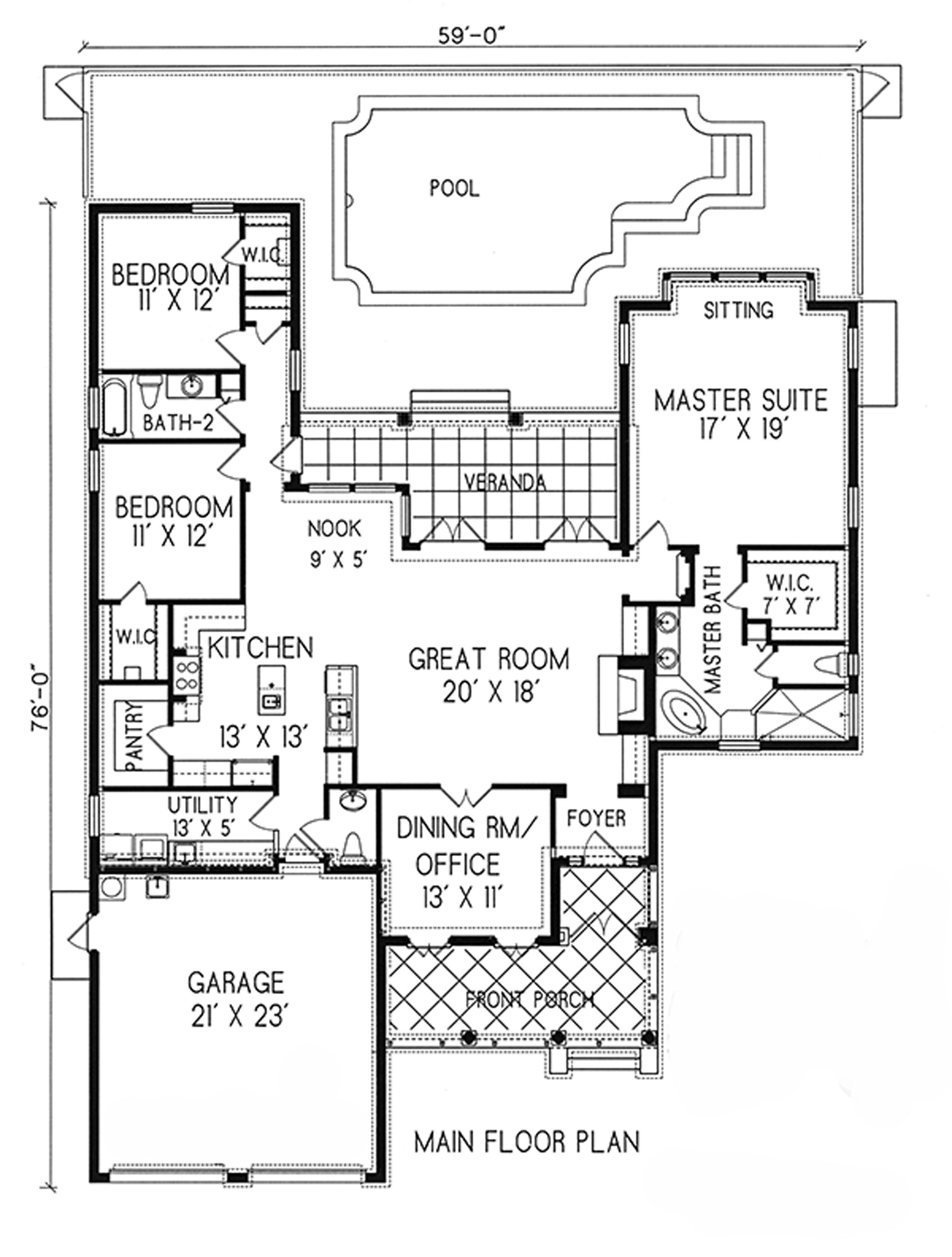 plan 16336md spanish styling for side slope lot pantry and house