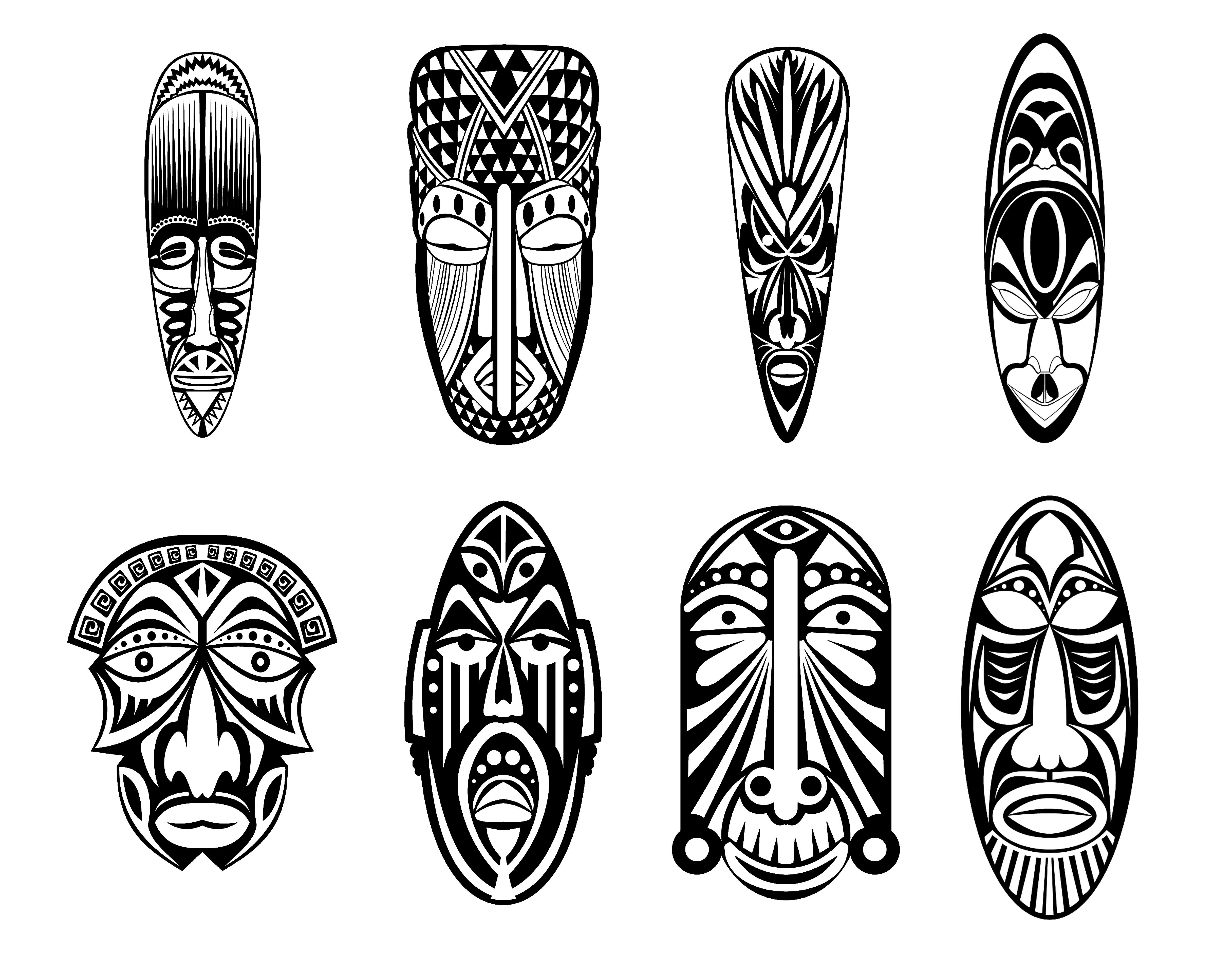 Free coloring page coloring-adult-12-african-masks. Twelve