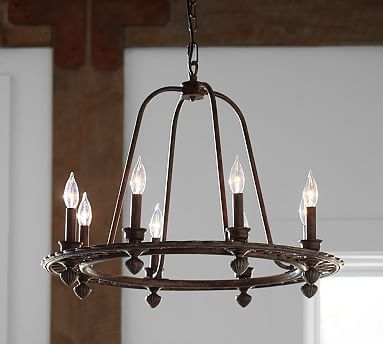 Ornate Iron Ring Chandelier With Images Pottery Barn Lighting
