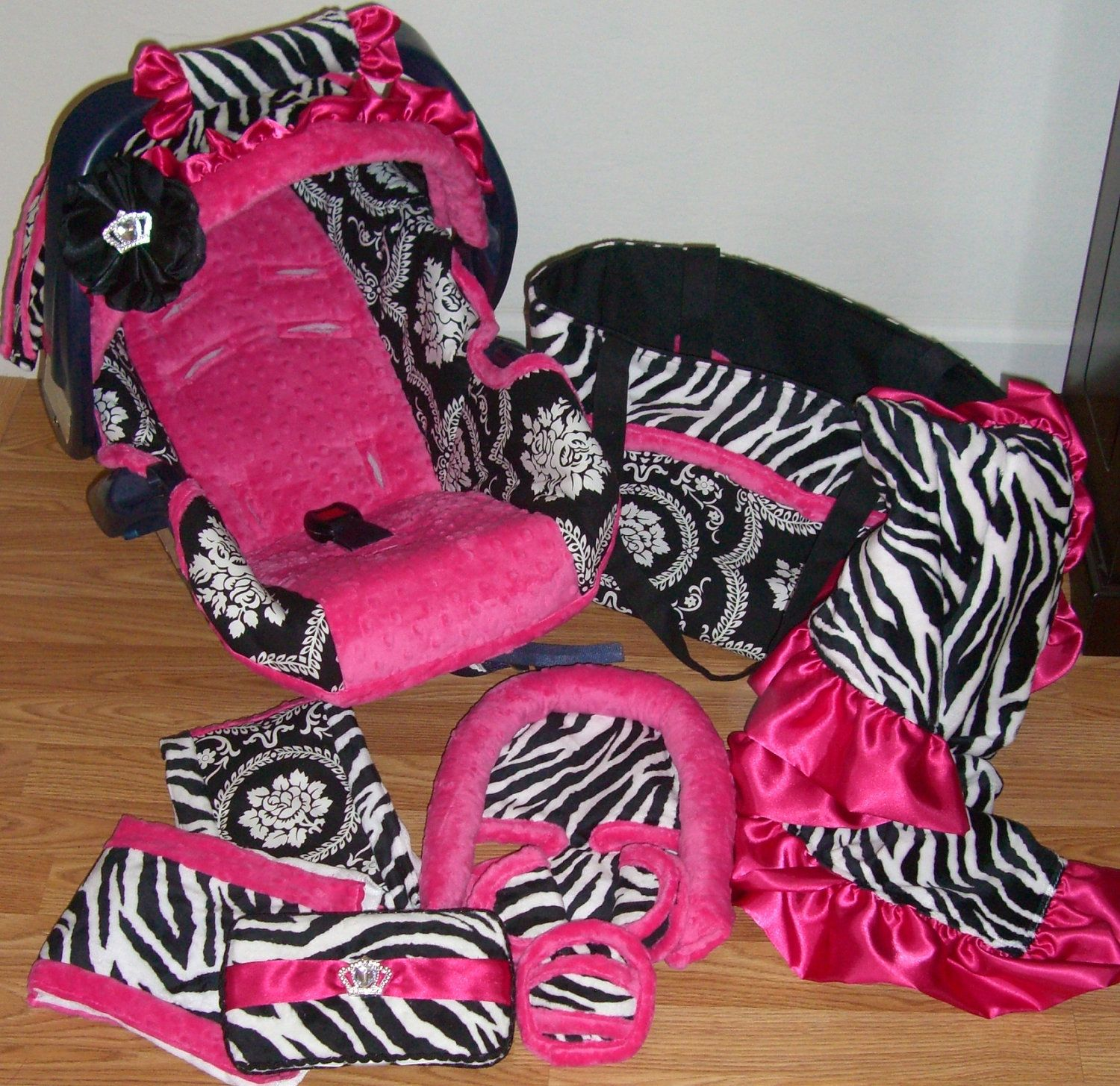 Pink Girly Car Accessories - A full car seat set in pink and zebra for a future baby girl this has my name written all over it