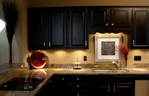 Tan Walls Dark Cupboards Black Kitchen Cabinets Kitchen Cabinet