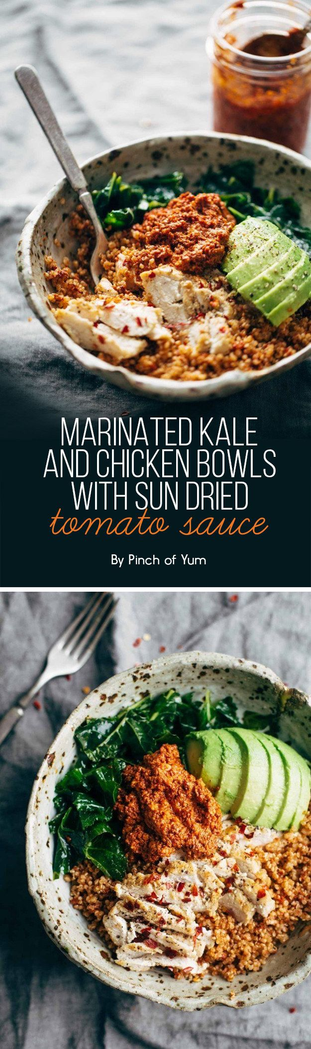 Marinated Kale and Chicken Bowls with Sun Dried Tomato Sauce