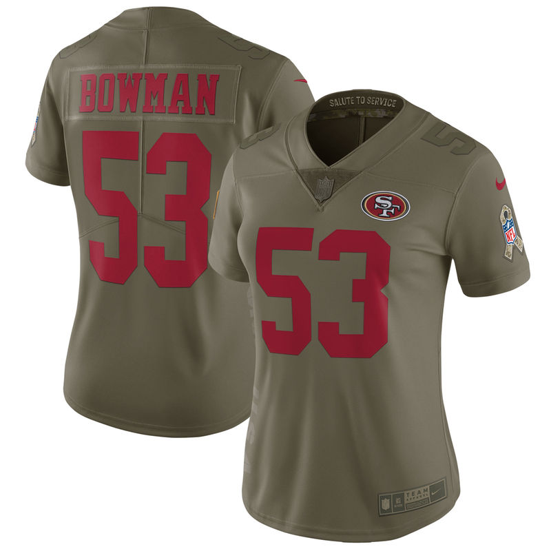 NaVorro Bowman San Francisco 49ers Nike Women s Salute to Service Limited  Jersey - Olive a9c0a0fc5