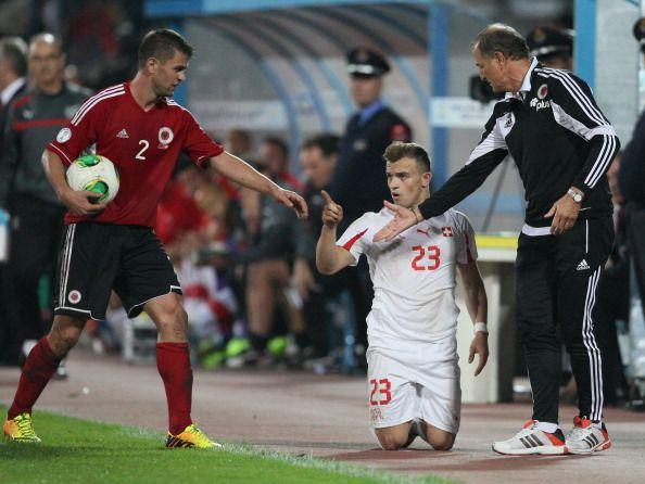 Switzerland S Xherdan Shaqiri C Reacts During The Fifa 2014 World Cup Qualifying Football Match Between Albania A Fifa 2014 World Cup Football Match Football