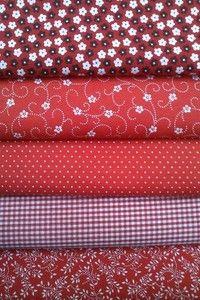 Kit Patchwork 138 Vermelho II- (5 cortes de 30 cm x 75cm) Tricoline 100% Algodão
