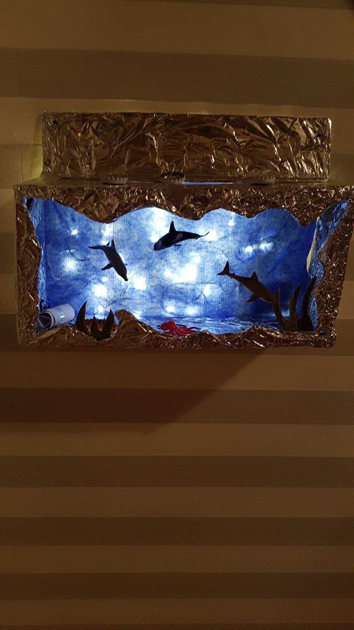 Led-lichterketten aquarium mit beleuchtung aus einem schuhkarton alufolie