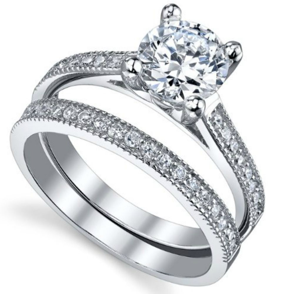Sterling Silver Wedding set size 10 CZ Round cut Engagement Ring
