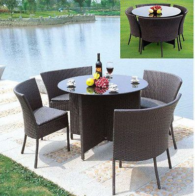 Rattan Garden Furniture Round Dining Table 4 Chairs Dinning Set Outdoor Patio In Furniture Sets Rattan Garden Furniture Round Dining Table Garden Furniture