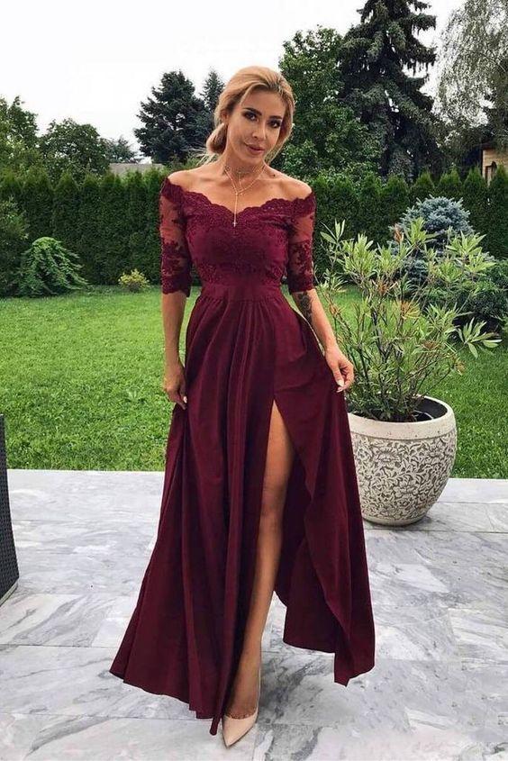 Off the Shoulder Half Sleeve Burgundy Modest Prom Dress,Bridesmaid Dresses