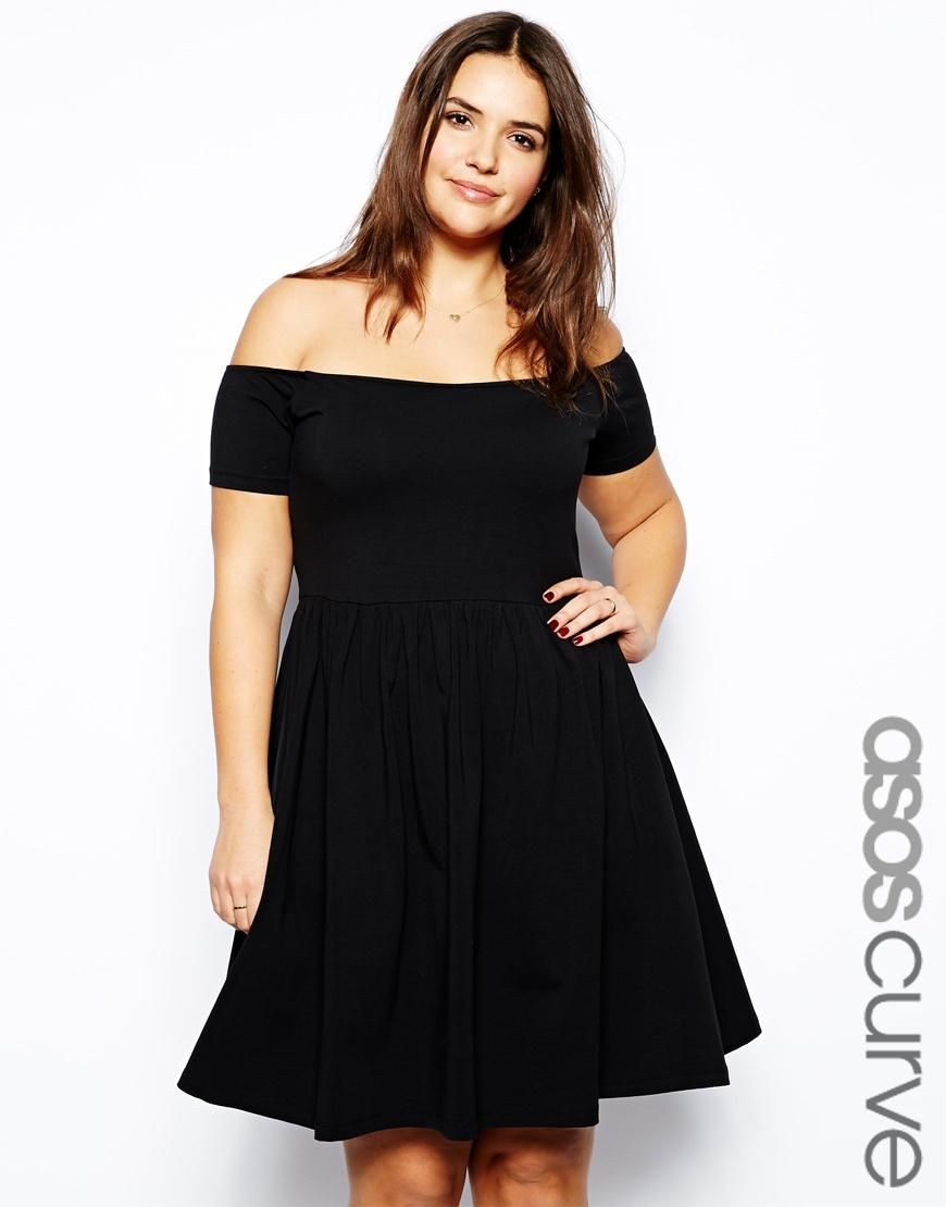 asos curve | asos curve skater dress with off shoulder at asos