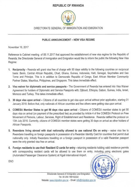 This Is According To A Notice Issued By RwandaS Directorate Of