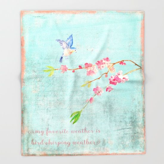My favorite weather - Romantic Birds Cherryblossoms and Spring Typography on aqua Throw Blanket