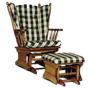 Amish Heritage Four Post Glider Rocker Shown In Oak With Ottoman