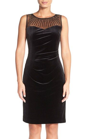 ac621600 Ellen Tracy Illusion Pleat Velvet Sheath Dress available at #Nordstrom