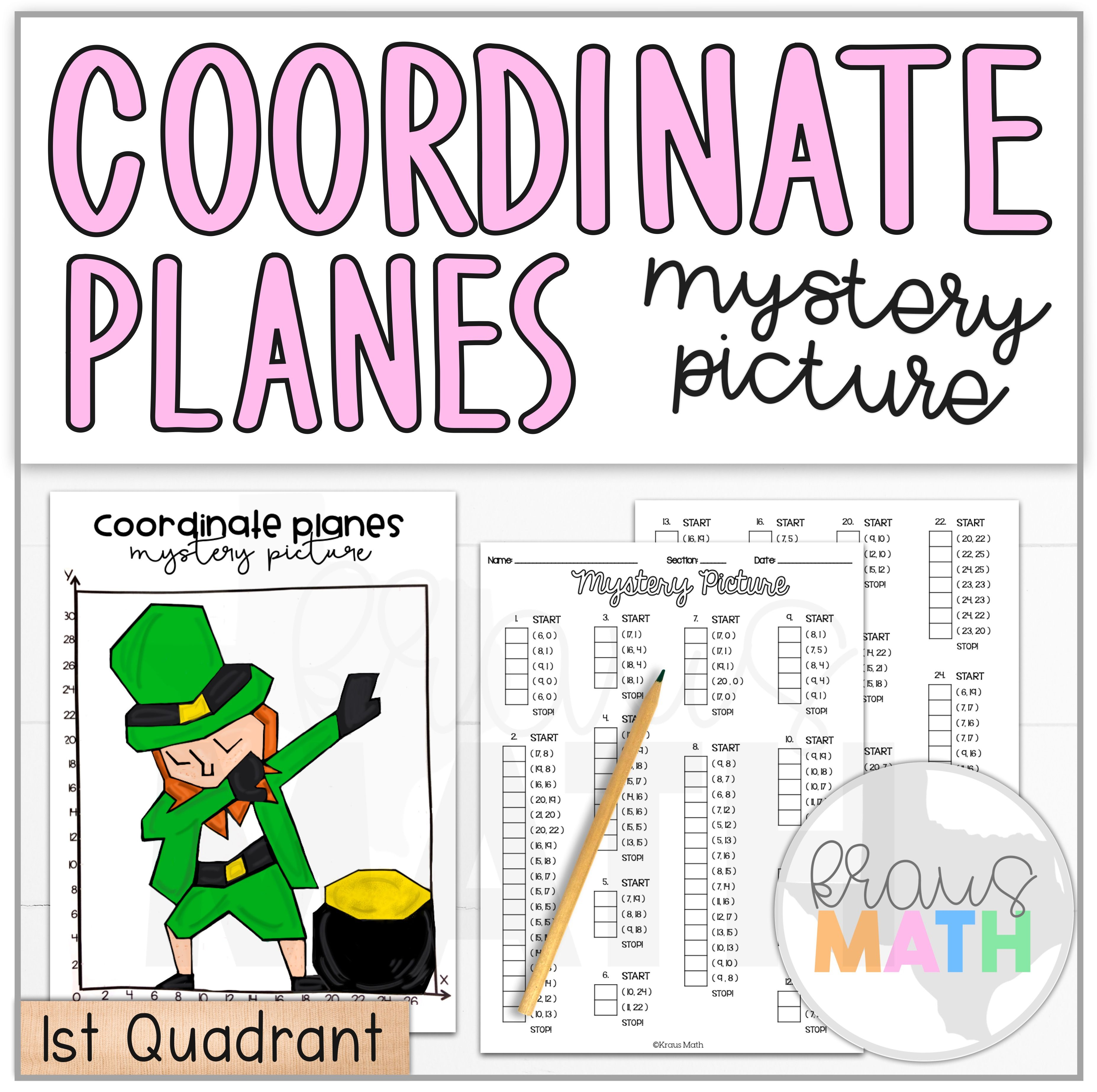 St Patrick S Day Dab Coordinate Plane Activity 1st