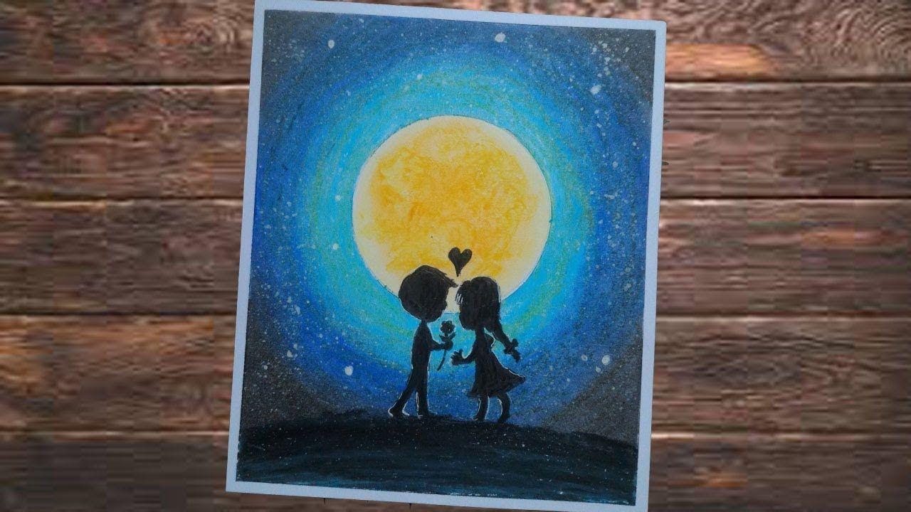 """girl and boy dimalam hari """"LOVE STORY""""TEHNIK LUKISAN"""