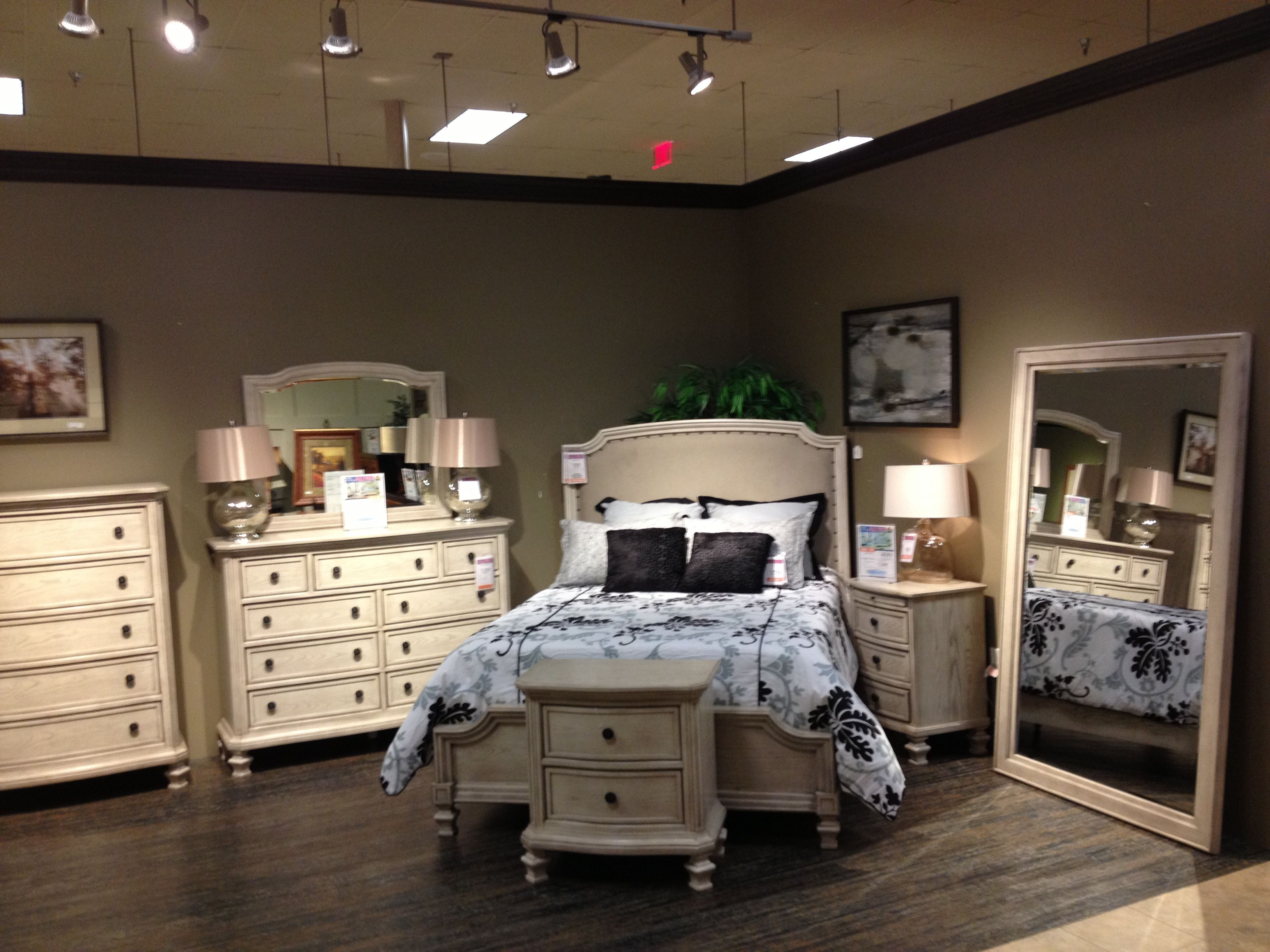 Ashley Upholstered White Wash Bedroom Set Furniture