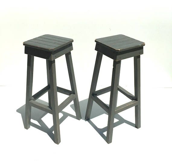 Fantastic Distressed Bar Stool Set Two Vintage Stools Farmhouse Style Pdpeps Interior Chair Design Pdpepsorg