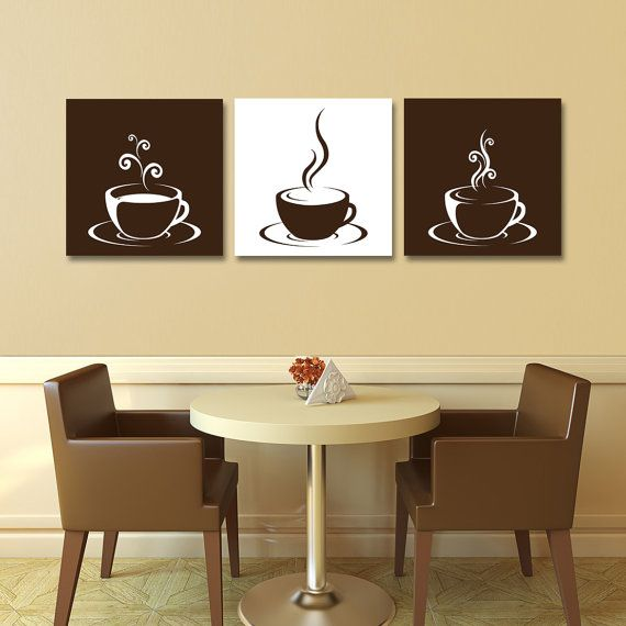 Modern Kitchen Paintings kitchen wall art print set - eat drink love - yellow, grey, black