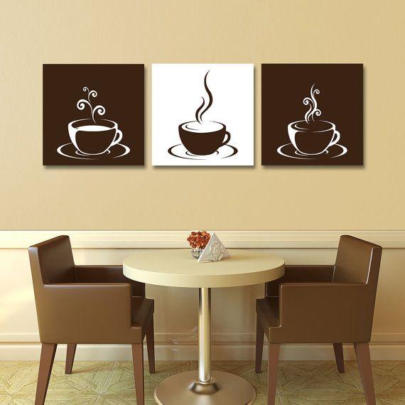 Set of 3 Coffee Cup Canvas Wraps - Espresso Art - Kitchen ...