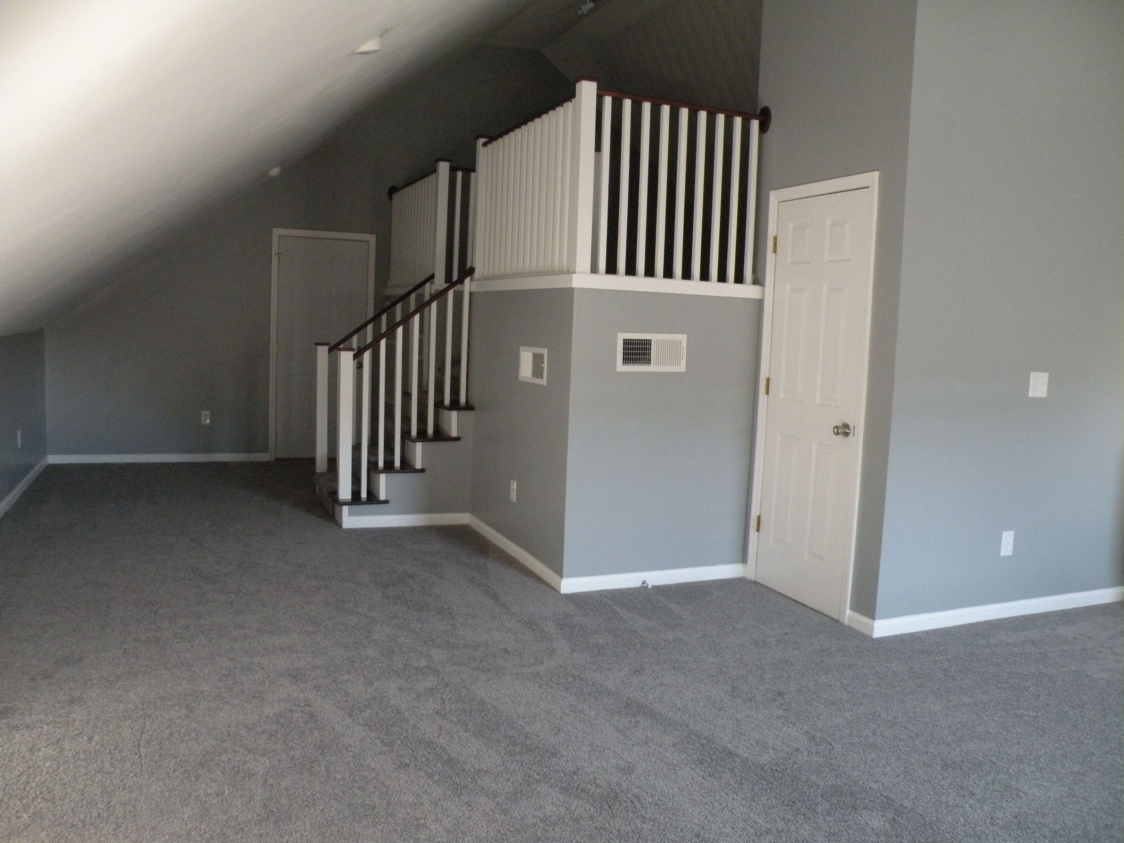 Bonus Room Gray Walls Gray Carpet White Trim Grey Walls White