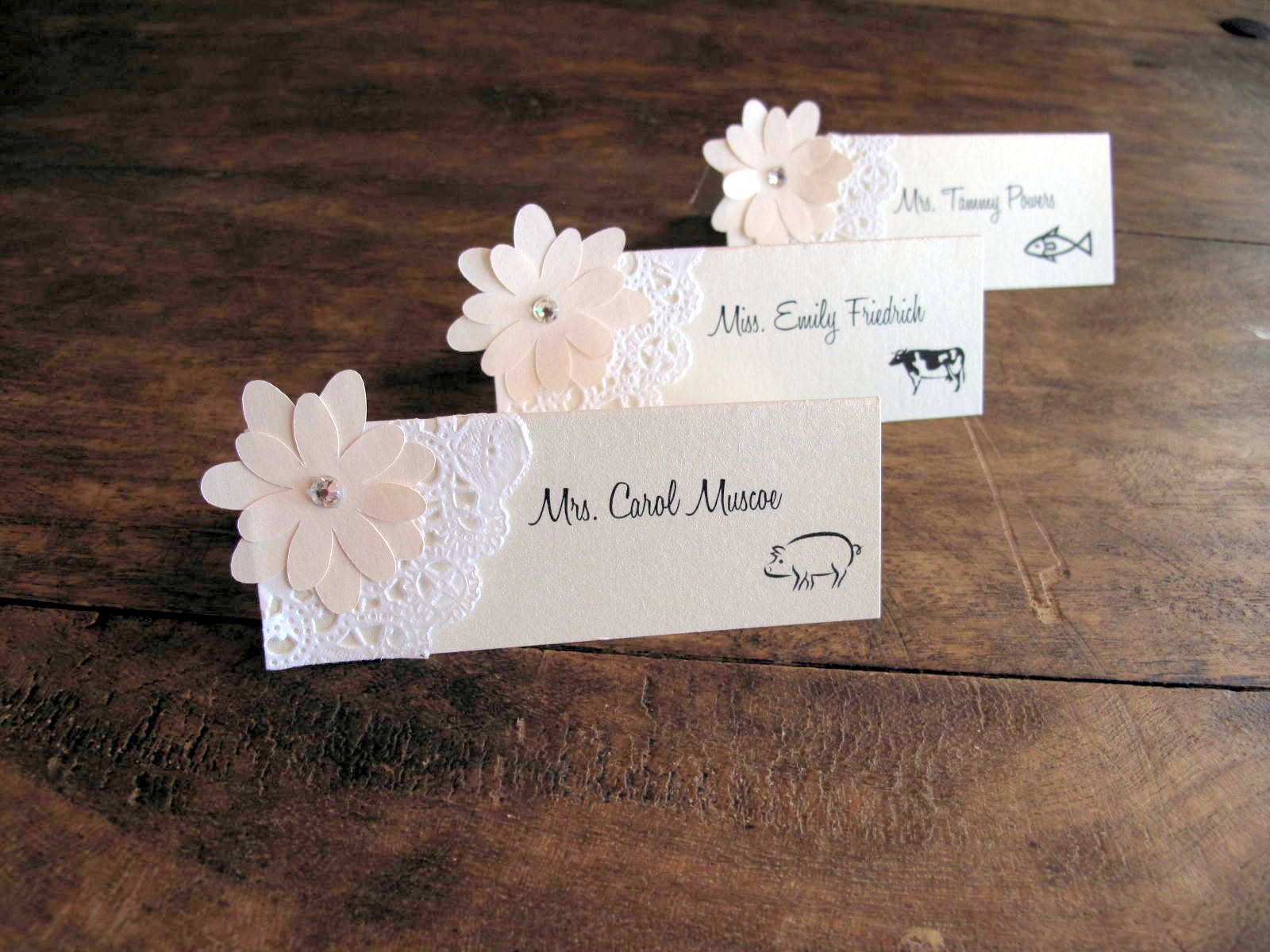 Wedding place cards bridal shower place cards placecards Unique place card ideas