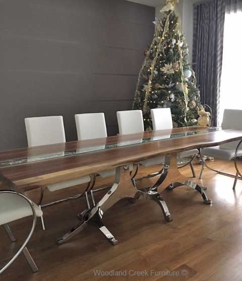 Metal Branch Dining Table Base & Live Edge Top with Inlaid Glass ...