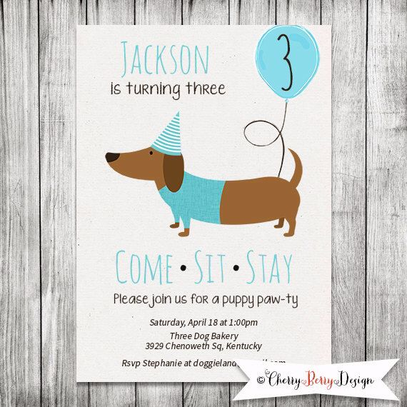 Boy Dachshund Birthday Invitation Puppy Party Invite Dog Birthday Invite Come Sit Stay Invitation 5x7 Jpg Digital File Puppy Party Invites Dachshund Birthday Puppy Party