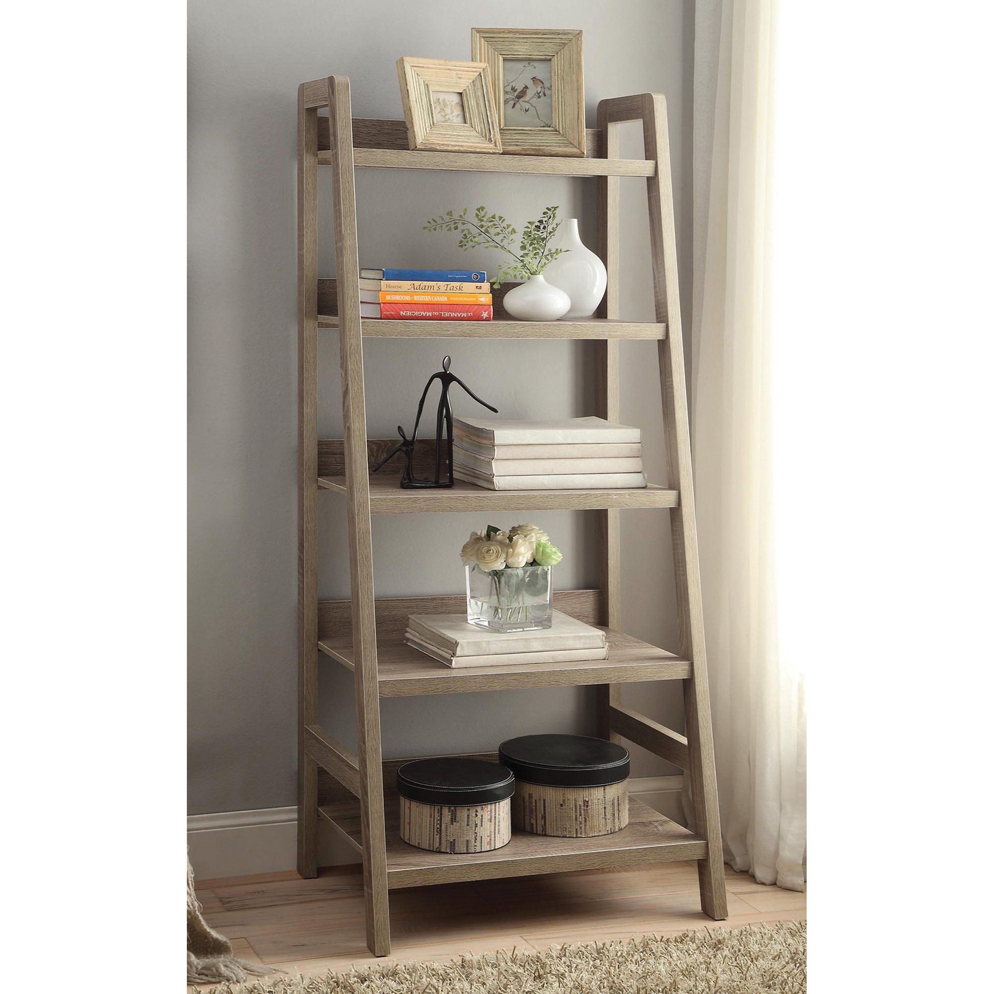 Linon tracey tier ladder bookshelf u gray apartment decor