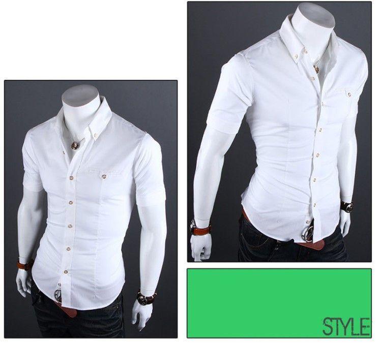 Men Casual Shirts Short Sleeves Elegant Shirts, White, Brown, Blue, Black