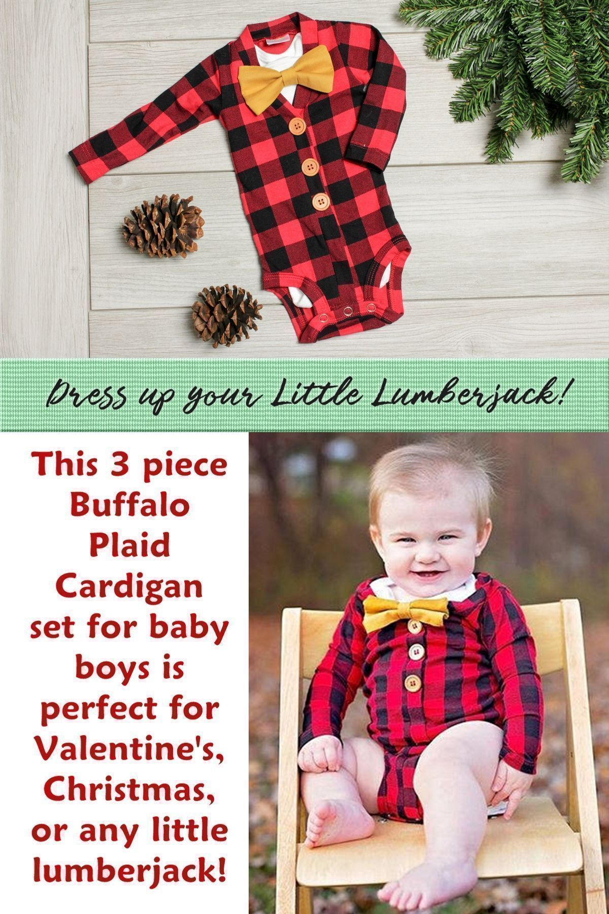 Dress up your little lumberjack in this  pc buffalo plaid set
