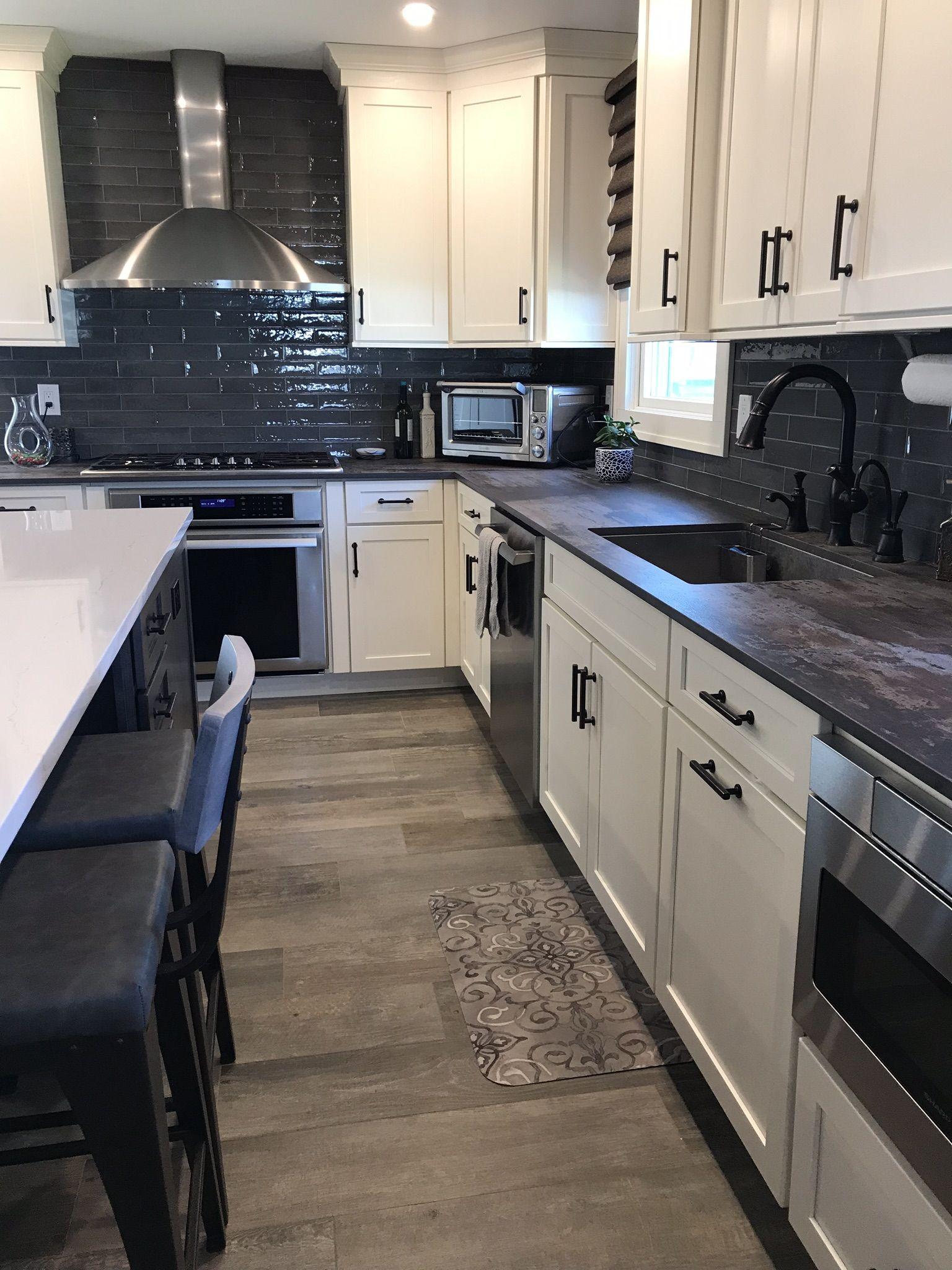 navy blue backsplash kitchen tiles design