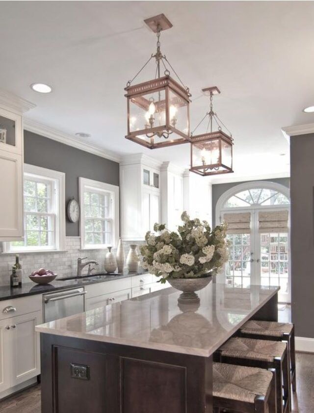 White Lower Cabinets Dark Counter Neutral Backsplash Gray Taupe Walls Or Upper And Floors
