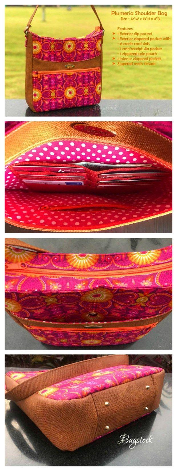 Plumeria shoulder bag pattern   Taschen nähen, Selber nähen und Etui
