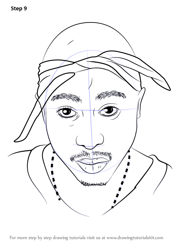 Learn How To Draw 2pac Rappers Step By Step Drawing Tutorials Biggie Smalls Art Drawings Scary Drawings