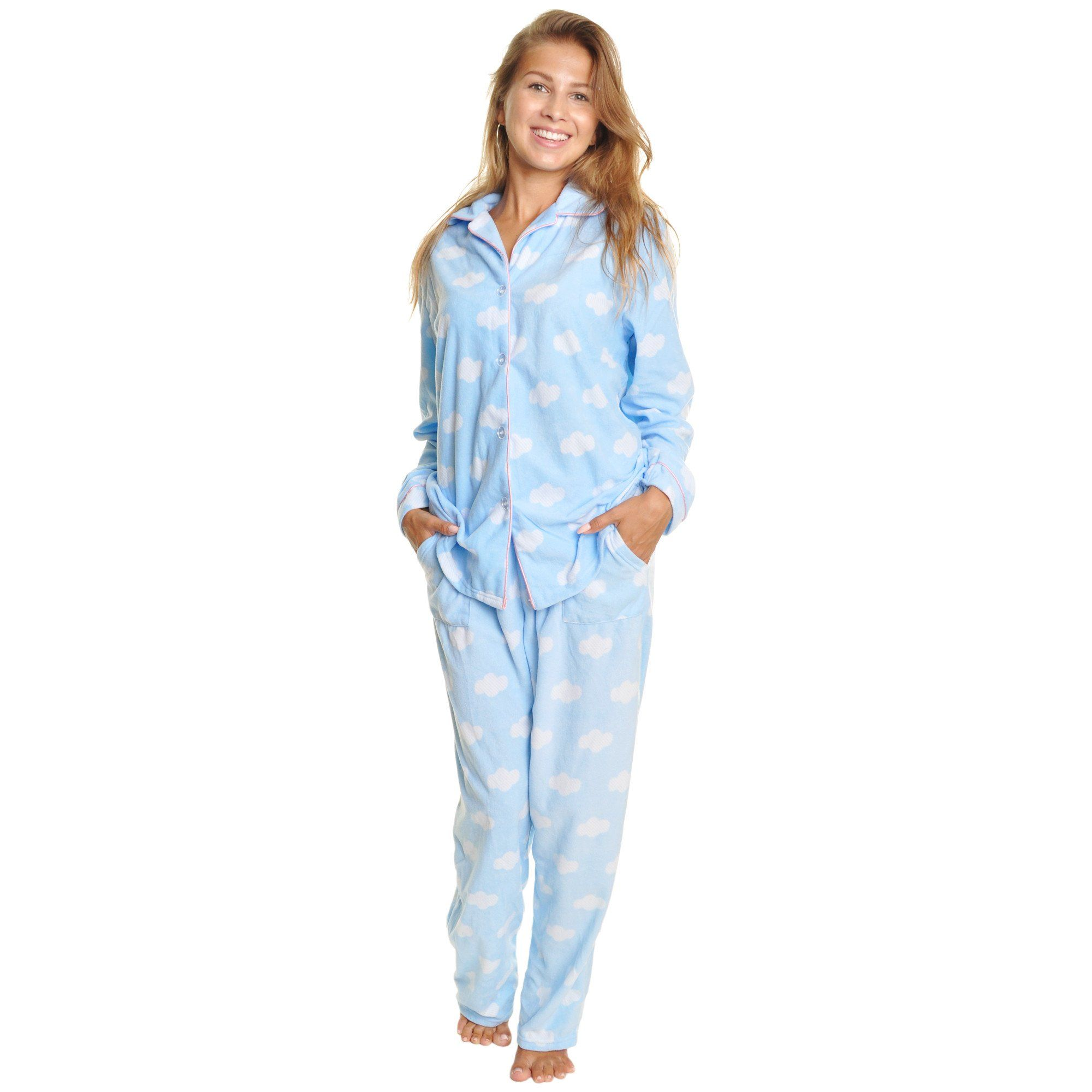 34f708badf29 Cozy Fleece Long Sleeve Button Up Pajama Pants Set
