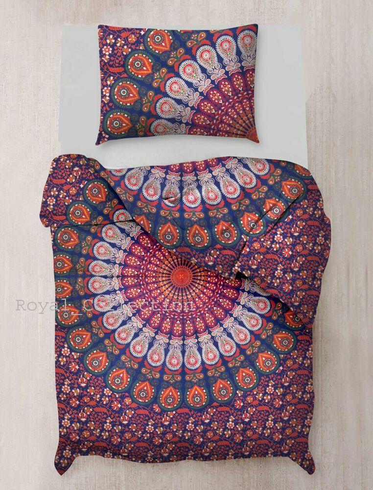 Indian Duvet Mandala Double Queen Size Bed Quilt Cover Duvet Doona Cover Boho Handmade Indian Bed Quilt Cover Mandala Duvet Cover Boho Bedding Sets