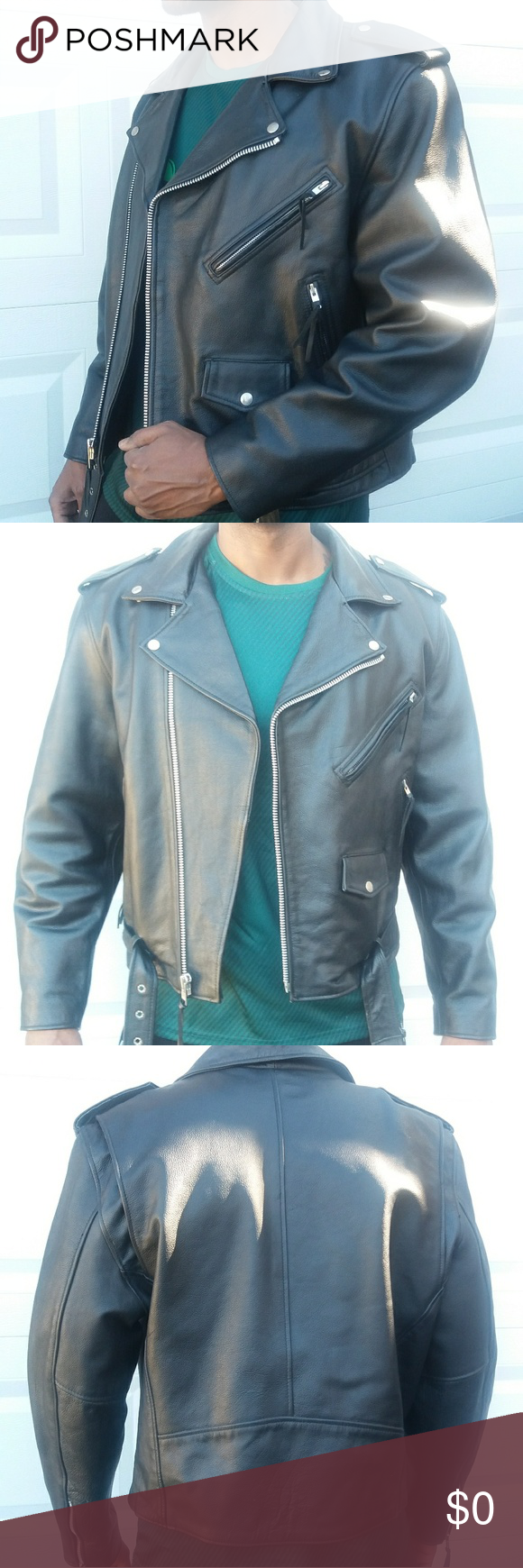 FMC Men's Black Leather Motorcycle Jacket (With images