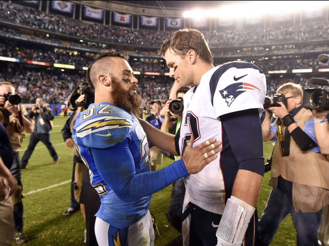 Eric Weddle and Tom Brady showing respect Weddle is a great