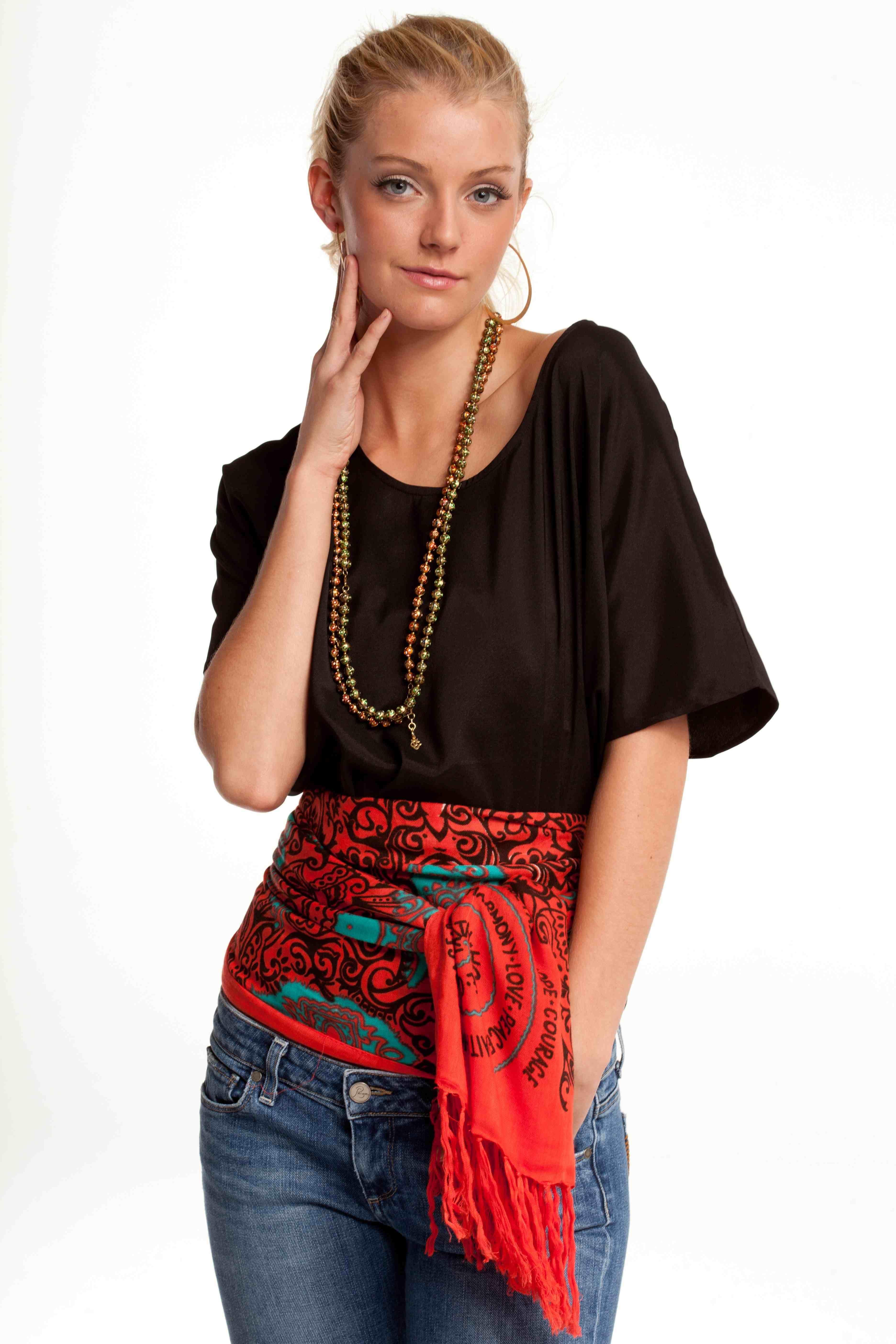 Hope tribal wrap tied as a kimono belt simply fold scarf length